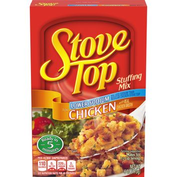 Kraft Stove Top Lower Sodium Stuffing for Chicken Mix, 6 oz Box