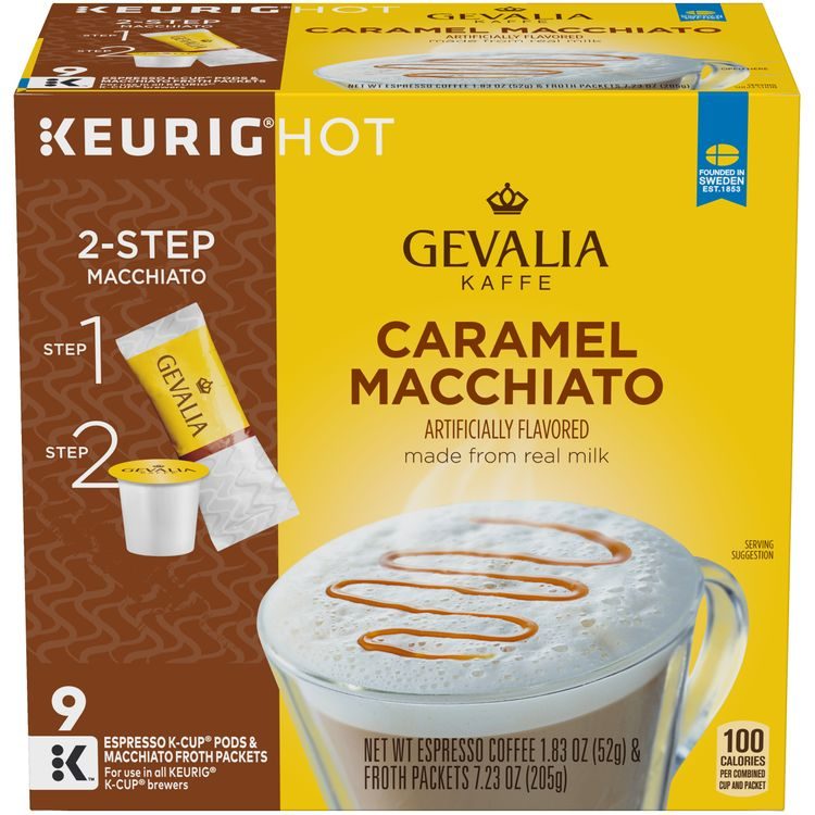 Gevalia Frothy 2-Step Caramel Macchiato Expresso K-Cup® Coffee Pods & Froth Packets Kit, 9 ct Box