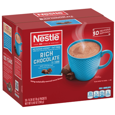 Nestle Hot Cocoa Mix, Sugar Free, Fat Free, Rich Chocolate, Single Serve Packets, 6 x 30 Ct