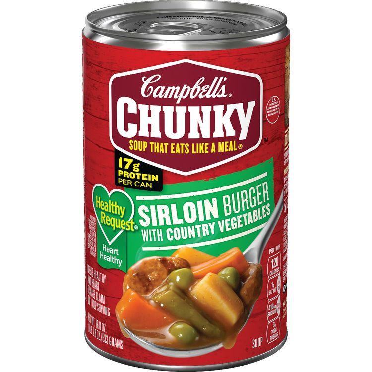 Campbell's® Chunky® Soup, Healthy Request® Sirloin Burger with Country Vegetables Soup, 18.8 Ounce Can