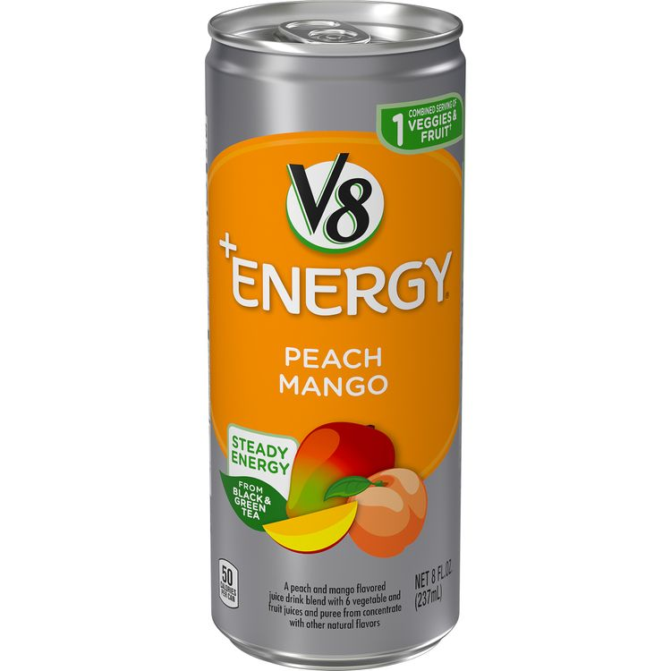 V8 +Energy®, Healthy Energy Drink, Natural Energy from Tea, Peach Mango