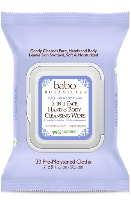 Babo Botanicals 3 In 1 Face, Hand And Body Cleansing Wipes, French Lavender, Meadowsweet
