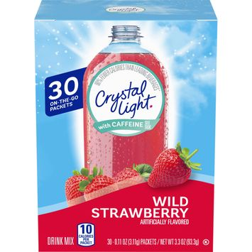 Crystal Light Wild Strawberry On-The-Go Powdered Drink Mix with Caffeine, 30 ct - Packets