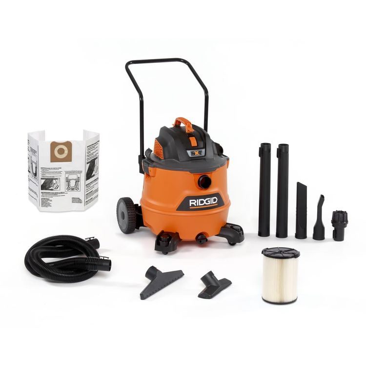 RIDGID 16 Gal. 6.5-Peak HP NXT Wet/Dry Shop Vacuum with Cart, Filter, Hose and Accessories, Oranges/Peaches