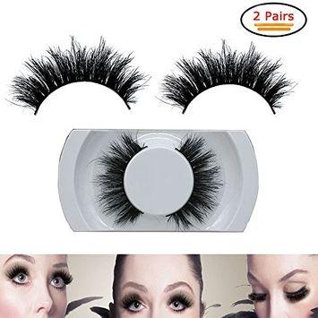 False Eyelashes Pack, 2 Pairs Black Luxurious 100% Real Mink Natural Thick Eye Lashes False Eyelash 010 for Women's Make Up