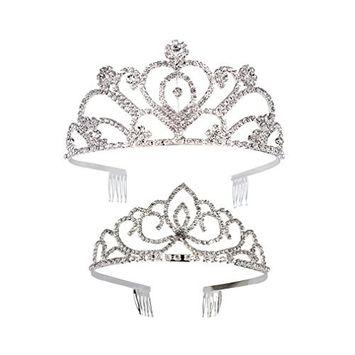 SuPoo 2 Pack Rhinestone Crystal Crown Wedding Crown Bride Tiara Princess Tiara Hair Loop For Birthday For parties