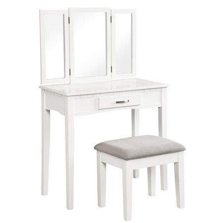 Angel Line Ella Vanity Table and Stool Set w/ Tri-Folding Mirror, White w/ Gray Cushion