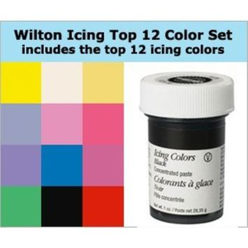 Wilton 12 Icing Color Set Includes 12 Large 1 Ounce Containers of Icing Color Gel You Get the 12 Most Popular Colors in One Set of Large Size Containers