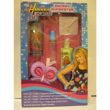 Disney Channel - Hannah Montana - Secret Superstar - 5 Piece Gift Set - Spray + Gel + Shimmer + Soap + Pouf