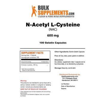 BulkSupplements NAC (N-Acetyl L-Cysteine) Capsules