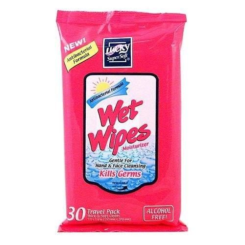 Wet Wipes Antibacterial 30CT Travel Pack Alcohol/PARABEN Free, Case Pack of 24