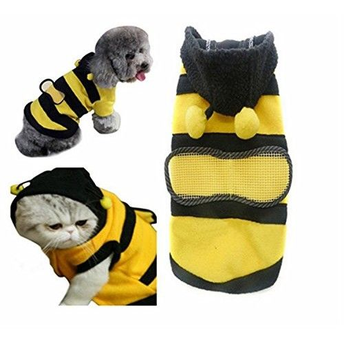 Pet Dog Cat Clothes Coat Puppy Rabbit Polar Fleece Hoodie Outfits Bee Style [S]