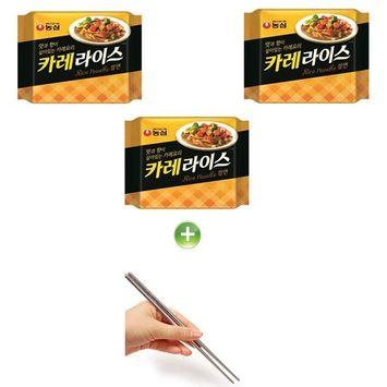 Nongshim Curry Rice Ramen Ramyun Noodle 124g (3PCS) + (1) Chopsticks