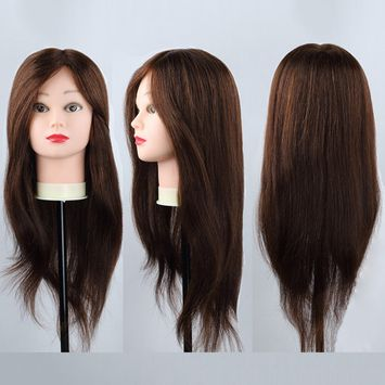 Real Human Hair Training Hairdressing 24inch Mannequin Doll Manikin Head + Free Clamp Holder Salon Cosmetology Beauty Head Makeup Hairdresser Hair styling Practice CoastaCloud