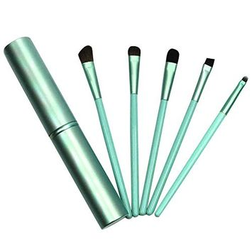 Eye Brushes Set, Mini Eyeshadow Brushes Blusher Cosmetic Foundation Brushes Make Up Brushes Kit with Portable Pouch(Green)