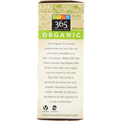 365 Everyday Value, Organic Ice Cream Sandwiches, 3.65 fl oz, 6 ct, (Frozen)