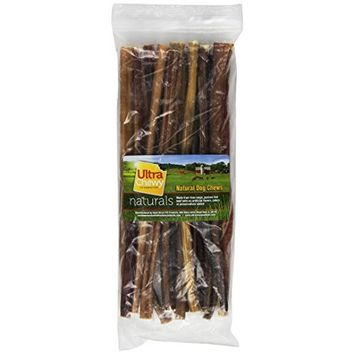 Rush Direct Ultra Chewy Naturals Odor-Free Slim Bully Sticks for Dogs, 12 Inch
