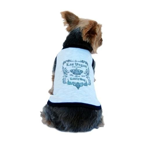 White Blue Trim Las Vegas Glitter Tee For Dog Clothing Clothes - Extra Small (Gift for Pet)