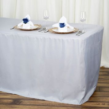 Efavormart Fitted 6 Feet Tablecloths for Kitchen Dining Catering Wedding Birthday Party Decorations Events [name: actual_color value: actual_color-silver]