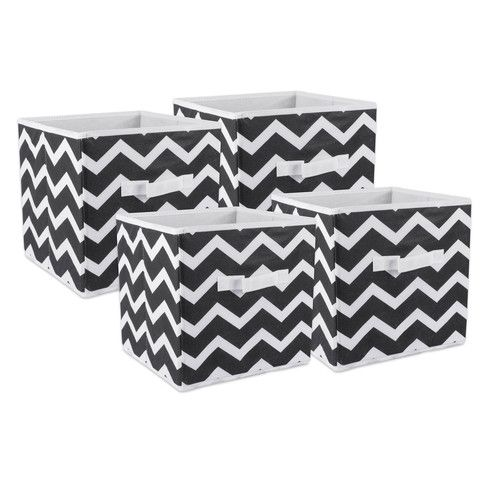"""DII Fabric Storage Bins for Nursery, Offices, & Home Organization, Containers Are Made To Fit Standard Cube Organizers (11x11x11"""") Chevron Black - Set of 2 [name: actual_color value: actual_color-black]"""