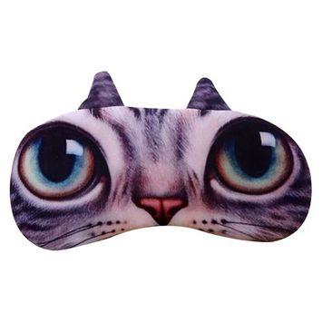 BAOBAO 3D Cartoon Cat Face Eye Mask Sleeping Nap Aid Blindfold Eyeshade Travel Accessory [style 1]