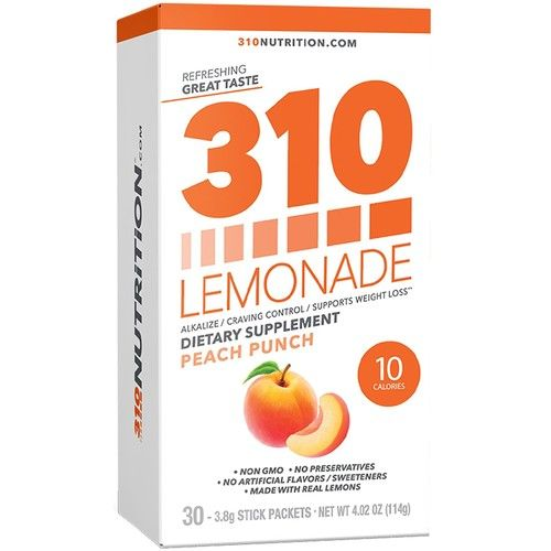 310 Lemonade Peach Punch - Slimming Lemonade Helps Restore PH Balance to Your Body Sugar-Free and Caffeine-Free Water Enhancer Beverage Includes 30 Individual Servings [Peach Punch]