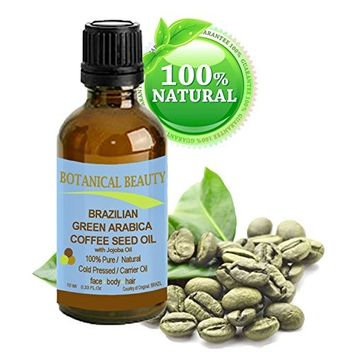 Brazilian GREEN ARABICA COFFEE SEED OIL. 100% Pure / Natural Cold Pressed Carrier Oil for Skin, Hair, Lip and Nail Care. Wrinkle Reducer, Skin Tone /Lift, Anti- Puffiness / Dark Circles, Anti Cellulite. [0.33 fl.oz-10ml.]
