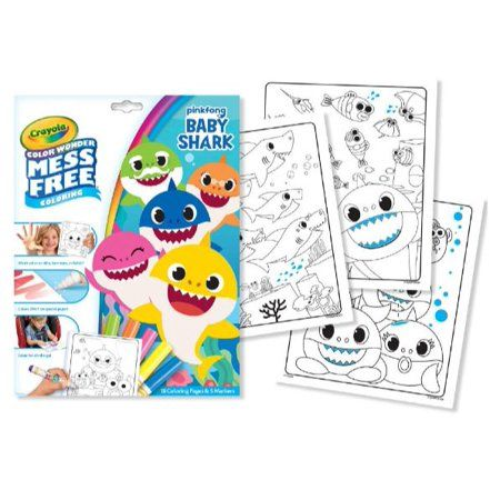 Crayola Color Wonder Baby Shark Mess Free Coloring Pages, Multicolor