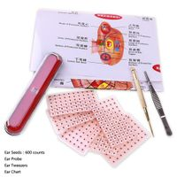 Yiphates 600 Counts Ear Seed Kit, 1Pcs Probe, 1Pcs Acupuncture Chart, 1Pcs Tweezers