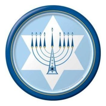 Hanukkah Lights 9-inch Paper Plates 8 Per Pack