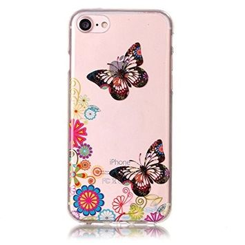 UCLL iphone 7 Case,Colorful Butterfly Pattern Soft Case For 4.7 inch iphone7 , iPhone 7 Soft Case With A Free Screen Protector