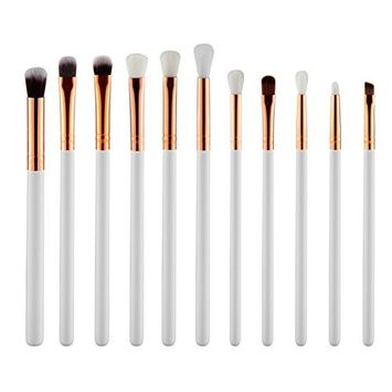 Makeup Brush Set, Ragdoll50 12Pcs Beauty Brushes with Premium Quality Synthetic Dense Bristles for All Consistencies (Powder, Creams and Liquids) (White)
