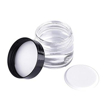 Polytree 60ml Glass Refillable Cosmetic Cream Jar Pot Container Empty Face Cream Lip Balm Storage Container With Black Lids