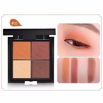 Hunputa Korean Pressed Glitter Eyeshadow Palette (4 Colors) - Highly Pigmented, Shimmery - Waterproof & Long-Lasting (B)