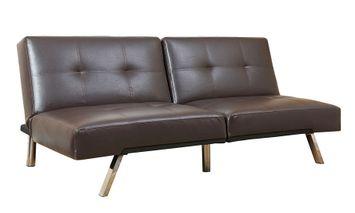 Aspen Leather Convertible Sofa, Dark Brown