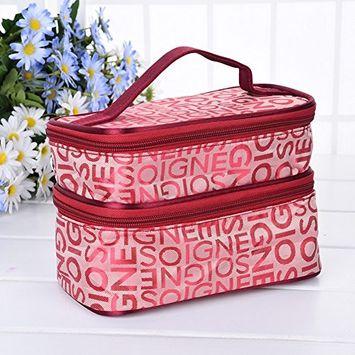 Oshide Figured Cloth Double Layers Makeup Bag Portable Large capacity Cosmetic Finishing Bag Makeup Case