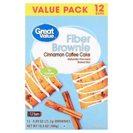 Great Value Cinnamon Coffee Cake Fiber Brownie Bars