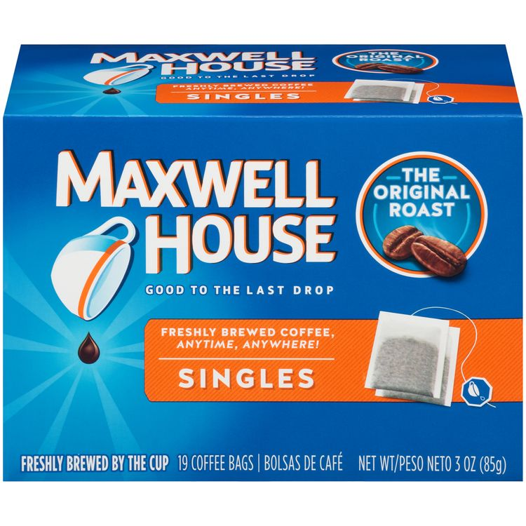 Maxwell House Singles Original Roast Ground Coffee Bags, Caffeinated