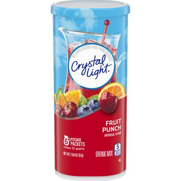 Crystal Light Fruit Punch Powdered Drink Mix, Caffeine Free, 2.04 oz Can