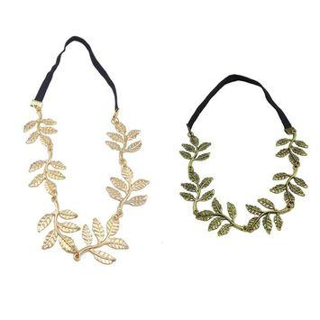Yueton Pack of 2 Alloy Leaf Elastic Hair Band Headband Fashion Elegant Hair Accessory
