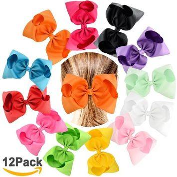 SuPoo Kids Girls Hair Bows Clips, 12 Pack Big 8 Inches Grosgrain Ribbon Boutique Hair Bows Alligator Clips for Baby Girls Kids, Christmas Gift