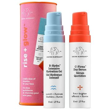 Drunk Elephant Rise + Glow Duo - Morning Skin Care Set. C-Firma Day Serum and B-Hydra Intensive Hydration Serum with Vitamin B5