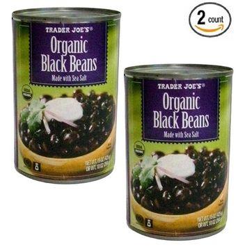 Trader Joe's Organic Black Beans NET WT 15.5 OZ (439g) - 2-PACK