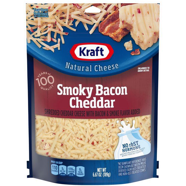 Kraft Smoky Bacon Cheddar Shredded Cheese, 6.67 oz Bag