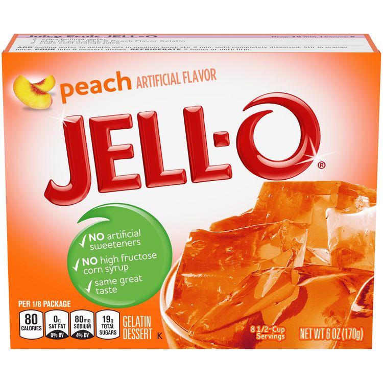 Jell-O Peach Instant Gelatin Mix, 6 oz Box