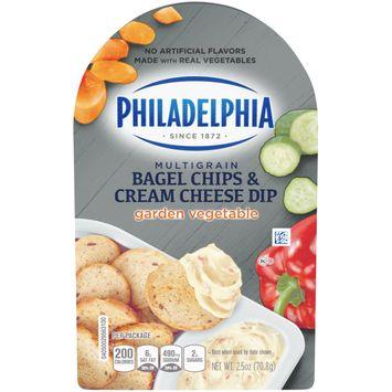 Philadelphia Bagel Chips & Garden Vegetable Cream Cheese Dip, 2.5 oz Package