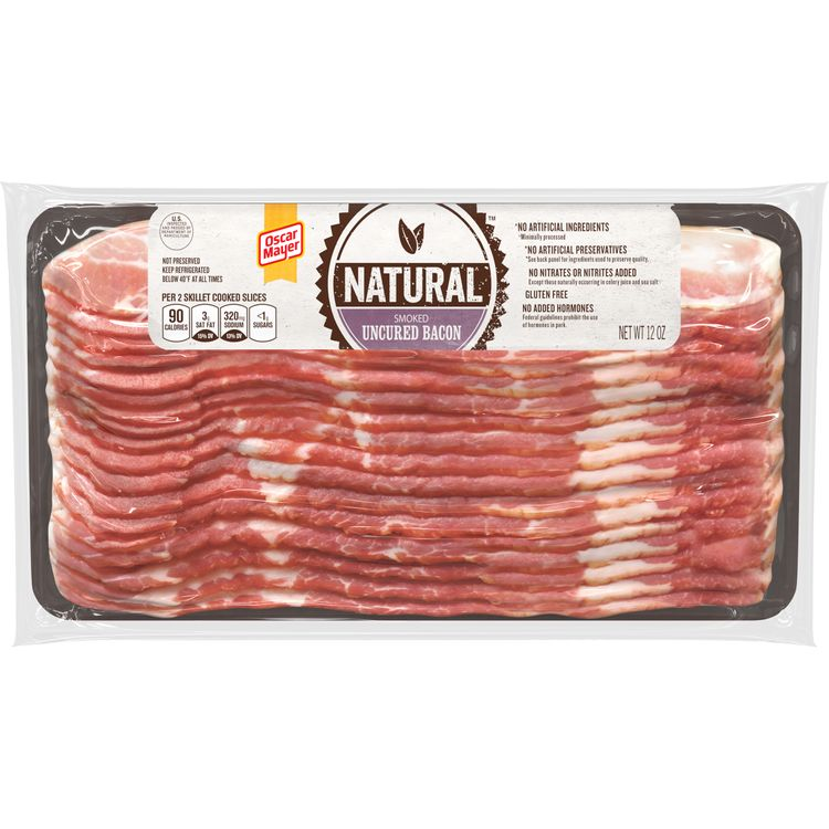 Oscar Mayer Natural Smoked Uncured Bacon, 12 oz Vacuum Pack