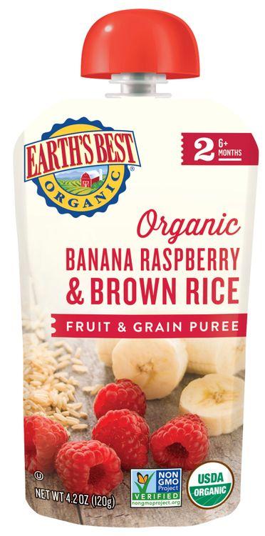 Banana Raspberry Brown Rice Fruit and Grain Puree