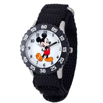 Mickey Mouse Boys' Stainless Steel with Bezel Watch, Black Nylon Strap