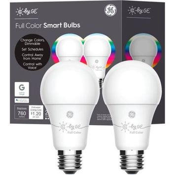 GE C Full Color Smart Bulb (2 LED A19 Bulbs), 60W Replacement, Bluetooth Enabled or Works With Google Assistant without a hub
